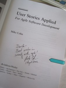 Mike Cohn book inscription